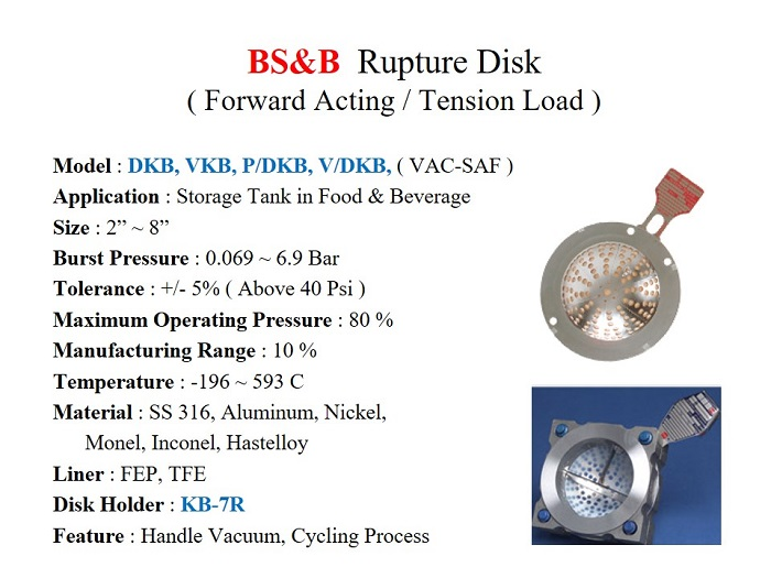 Rupture Disk DKB, VKB series / Forward Acting, MOP 80%, 0.069 ~ 6.9,  2 ~ 8 Inch - BS&B - Gamako