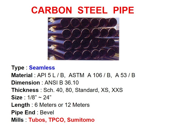 "Carbon Steel Pipe / Seamless, API 5L, ASTM A 106 & A 53, Sch 40 ~ XXS, Size 1/8"" ~ 24"" - Pipes - Gamako"